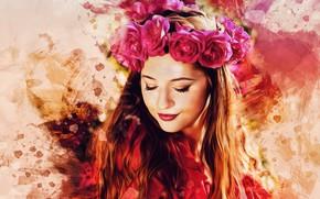 Picture girl, flowers, face, style, paint, portrait, roses, treatment, art, wreath