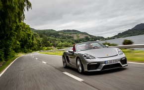 Picture Road, Porsche, River, Speed, Spyder, Porsche 718, 2019, Porsche 718 ( 982 ) Spyder