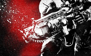 Picture Marcus Fenix, Gears Of War, assault rifle with chainsaw chain