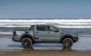 Picture wave, grey, shore, Ford, Raptor, pickup, Ranger, 2019