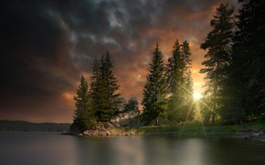 Picture FOREST, The SKY, The SUN, POND, CLOUDS, LIGHT, TREES, RAYS