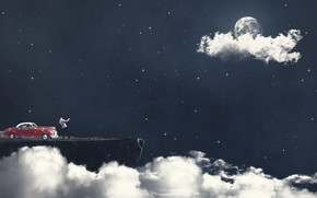 Picture The sky, Clouds, Auto, Stars, The moon, Machine, Moon, Sky, Stars, Rope, by Lucas Soares, …