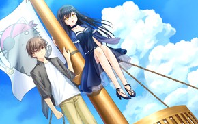 Picture the sky, girl, mast, guy, two, Summer Pockets