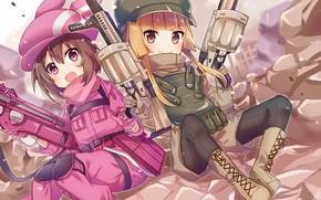 Wallpaper weapons, girls, anime, Sword Art Online, Sword Art Online Alternative: Gun Gale Online