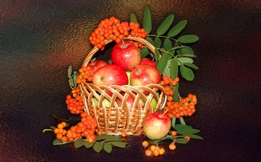 Picture mood, apples, still life, basket, Rowan, author's photo by Elena Anikina