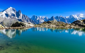 Picture lake, the sky, mountains