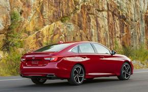 Picture red, Honda, Accord, sedan, 2018, four-door, at the rock, 2.0T Sport
