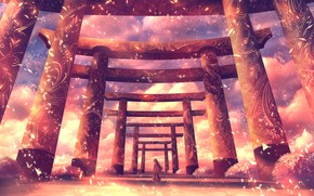 Picture the sky, girl, torii