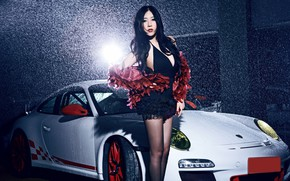 Picture look, Girls, Porsche, Asian, beautiful girl, is above the machine, white car