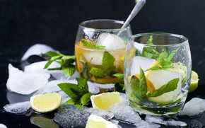 Picture ice, lime, mint, lemonade