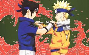 Picture the opposition, Naruto, Naruto, Sasuke Uchiha, Uzumaki Naruto, kunai