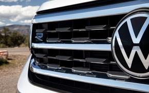 Picture Volkswagen, emblem, grille, SUV, Atlas, 2020, gray-silver