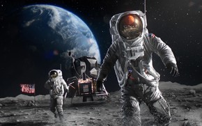 Picture The moon, Earth, astronaut