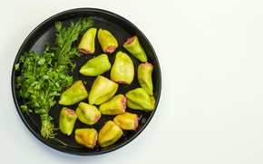 Picture greens, dill, pepper, parsley, tray