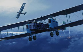 Picture bomber, art, airplane, painting, aviation, ww1
