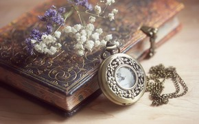 Picture watch, Notepad, the dried flowers