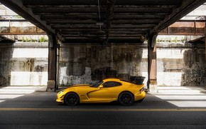 Picture Yellow, Machine, Car, Viper, Dodge Viper, Render, Rendering, Sports car, Side view, Dodge Viper ACR, …