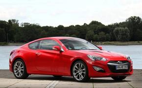 Picture car, machine, water, red, Hyundai, red car, rooms, water, coupe, wheel, red car, coupe, Hyundai …