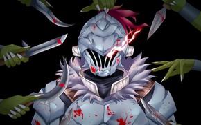 Picture blood, armor, hands, helmet, knives, knight, Goblin Slayer