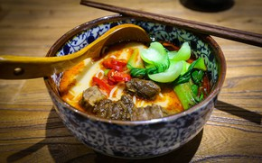 Picture spoon, meat, pepper, bowl, vegetables, Japanese cuisine