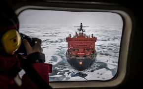 Picture The ocean, Sea, Ice, The window, Icebreaker, The ship, Russia, Ice, 50 years of Victory, …