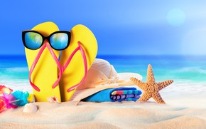 Picture sand, sea, beach, summer, star, vacation, hat, glasses, shell, summer, beach, sand, slates, vacation, starfish, …