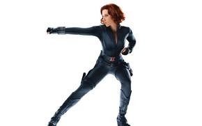 Picture girl, pose, Scarlett Johansson, white background, The Avengers, black widow