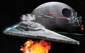 Picture The explosion, Star Wars, The Death Star, X-wing, New hope, Star destroyer, TIE Fighter, Galactic …