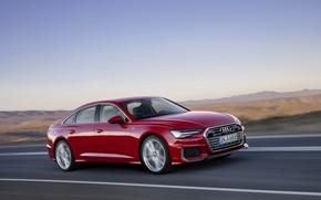 Picture red, Audi, hills, sedan, 2018, four-door, A6 Sedan
