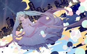 Picture dress, girl, Vocaloid, Hatsune Miku