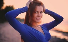 Picture smile, hair, Girl, dress, shoulders, Vyacheslav Ivakhnenko