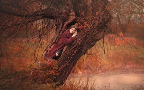 Picture autumn, girl, branches, nature, pose, tree, stay, woman, closed eyes