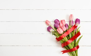 Picture flowers, bouquet, tape, tulips, love, pink, wood, pink, flowers, beautiful, romantic, tulips, spring, purple
