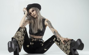 Picture girl, face, style, boots, tattoo, sitting, pants