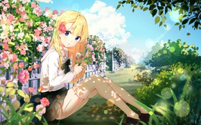 Picture Flowers, Girl, Meadow, yinchi