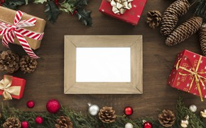 Picture decoration, frame, New Year, Christmas, Christmas, wood, New Year, decoration, frame, Merry, fir tree, fir-tree …