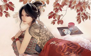 Picture Girl, Japan, Asian, Japan, Tattoo, Tattoo, Art, Illustration, Characters, Memoirs of a Geisha, Kunoichi, Kunoichi, …
