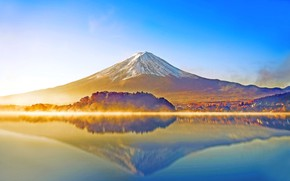 Picture FOREST, NATURE, The SKY, REFLECTION, SURFACE, MIRROR, DAWN, SURFACE, PONDS, MOUNTAIN, The VOLCANO