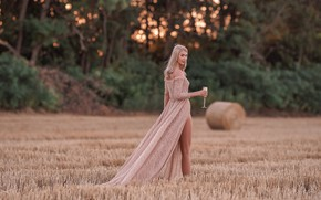 Picture field, look, girl, pose, back, glass, figure, dress, Maria Puchnina