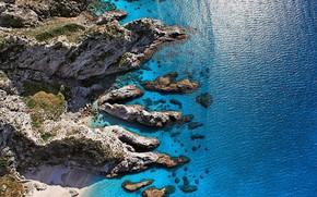 Picture beach, sea, landscape, Italy, cliff, Calabria, Capo Vaticano