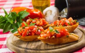Picture food, bread, tomatoes, garlic, sandwiches, appetizer, Basil, bruschetta