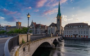 Picture sunset, bridge, the city, river, building, tower, home, the evening, Switzerland, lights, Church, spire, Zurich, …