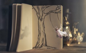 Picture swing, girl, book
