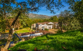 Picture greens, grass, the sun, trees, mountains, house, garden, valley, CA, USA, mansion, the bushes, Boddy …