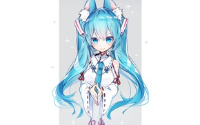 Picture background, girl, Vocaloid, ears, Hatsune Miku