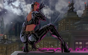 Picture Night, Figure, The city, Style, Costume, Background, Latex, Catwoman, Art, Art, Batman, Style, Cat woman, …