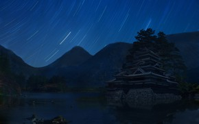 Picture The sky, Mountains, Night, Stars, Lake, Palace, Castle, Movement, Asia, Landscape, Excerpt, Lissett Lozada, by …