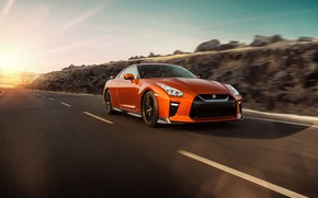Picture sunset, Nissan, GT-R