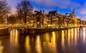 Picture night, city, the city, lights, lights, river, Amsterdam, panorama, night, Amsterdam, Holland, Netherlands, cityscape, Canal