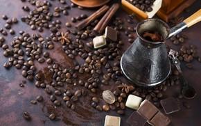 Picture coffee, chocolate, grain, Turk